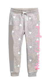 Light Gray Toddler Jogger Pant with Hearts